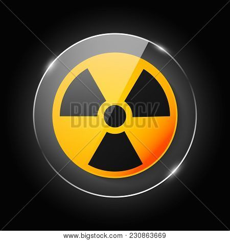 Ionizing Radiation Logo Warning Attention Icon. Hazard Radioactive Poison Symbol. Alert Flat Vector