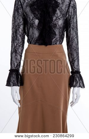 Black Lace Blouse And Long Brown Skirt. Long Brown Skirt. Front View, White Isolated Background.