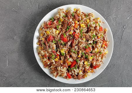 Juicy Beef Mixed With Rice And Vegetables