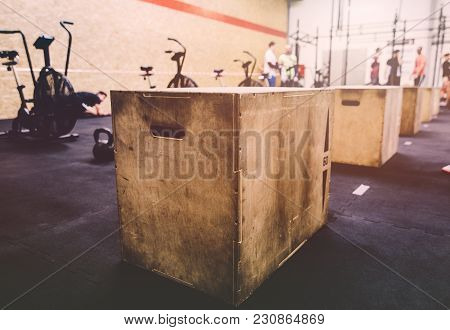 Wooden Training Box And Metal Heavy Kettlebell