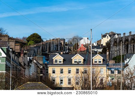 Picturesque View Of Row Houses In Small Irish Coastal Town