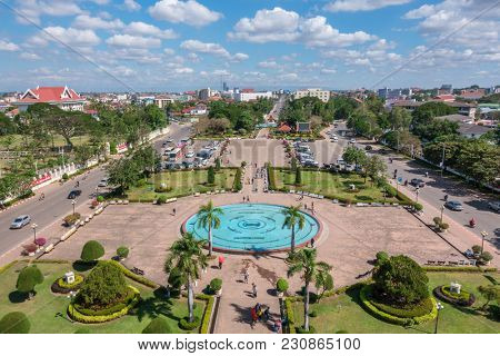 Vientiane, Laos - January 17, 2017: Patuxay park in Vientiane, view from the top of Patuxai Gate, Laos