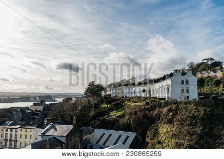 Picturesque View Of Row Houses In Cobh, A Small Irish Coastal Town