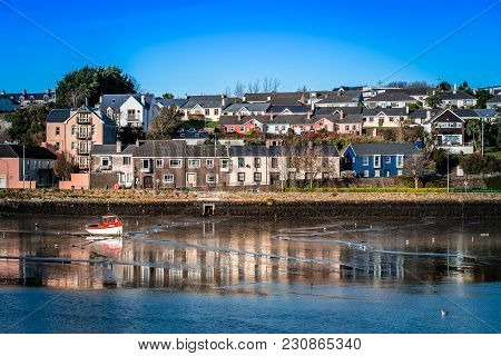 Scenic View Of The Harbor Of Kinsale In The County Of Cork, Ireland With Low Tide At Sunset