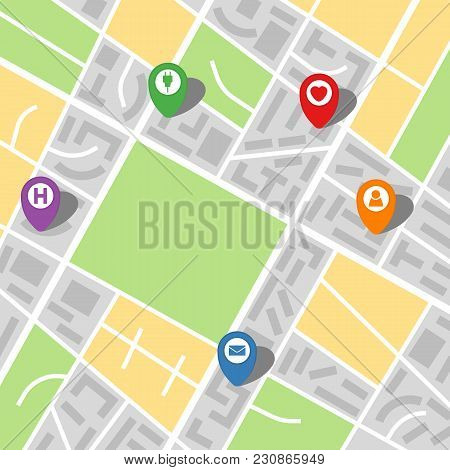City Map Of An Imaginary City With Five Pins. Vector Illustration.