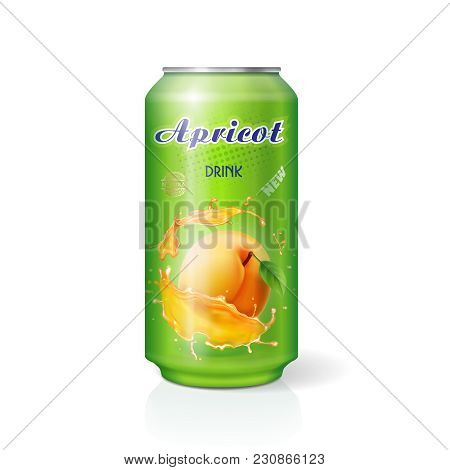 Apricot Juice In Aluminium Can Realistic 3d Vector.