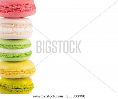 White Isolated Background, With Cookie Edge Macaron