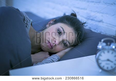 Young Beautiful Sad And Worried Latin Woman Suffering Insomnia And Sleeping Disorder Problem Unable