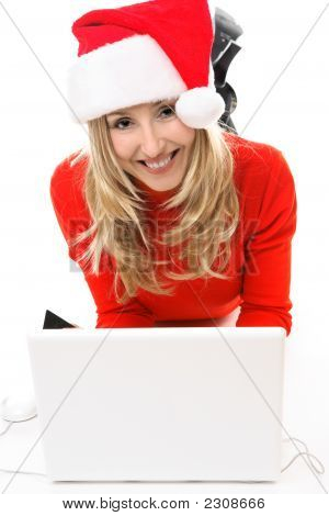 Christmas Girl At Laptop