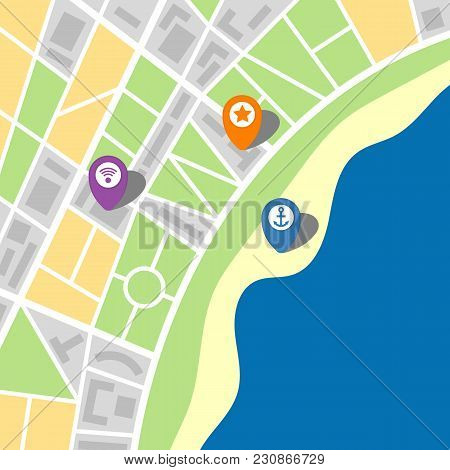 City Map Of An Imaginary City With A Sea And Three Pins. Vector Illustration.