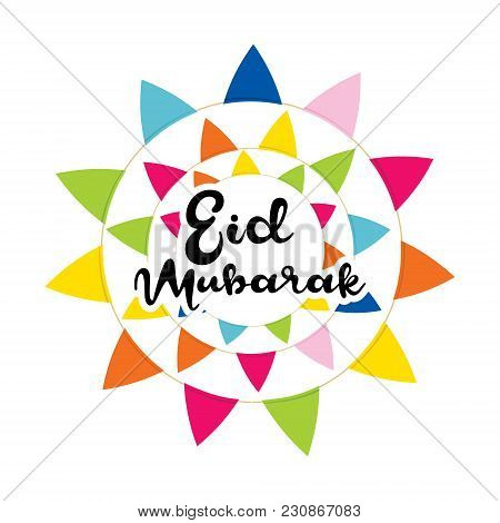 Creative Eid Mubarak Festival Greeting Design With Colorful Triangle Round Design