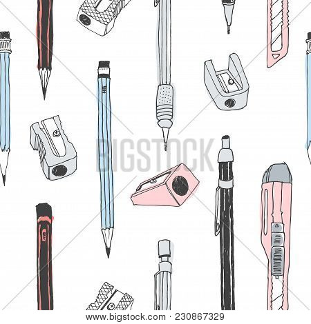 Hand Drawn Stationery Seamless Pattern. Vector Doodle Illustration. School Accessories, Supplies And