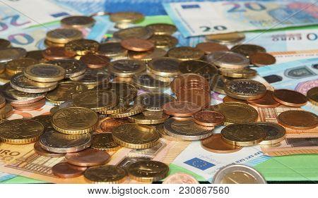 Euro Notes And Coins, European Union Selective Focus
