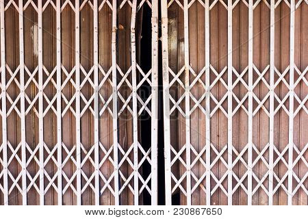 Old Iron Steel Close Up. Full Frame. Steel Doors Used Widely In Thailand Before. Steel Door Can Be S