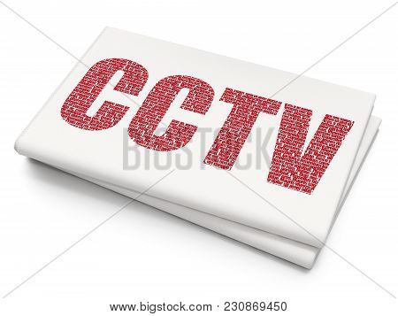 Security Concept: Pixelated Red Text Cctv On Blank Newspaper Background, 3d Rendering