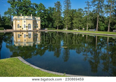 Saint-petersburg, Russia - July 02, 2016: Bathhouse Pavilion In Catherine Park  In Tsarskoe Selo Nea