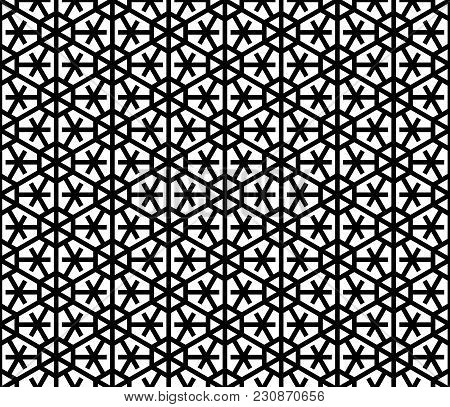 Japanese Seamless Pattern Kumiko Black And White Silhouette Lines With A Large Thickness