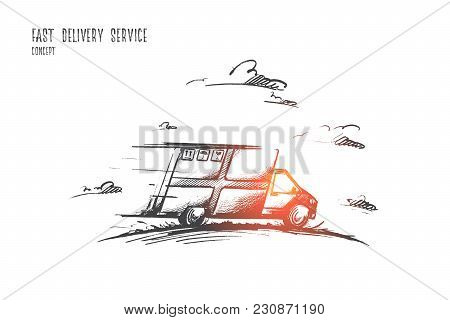 Fast Delivery Service Concept. Hand Drawn Delivery By Car. Courier Delivery Service Isolated Vector