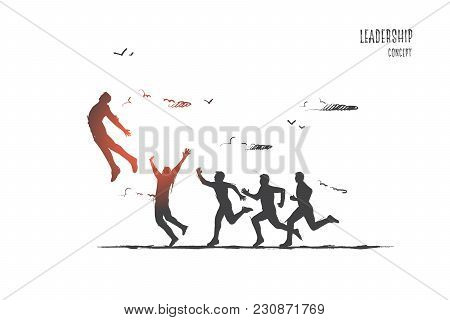 Leadership Concept. Hand Drawn Success Person Number One. Boss Of Stuff Isolated Vector Illustration