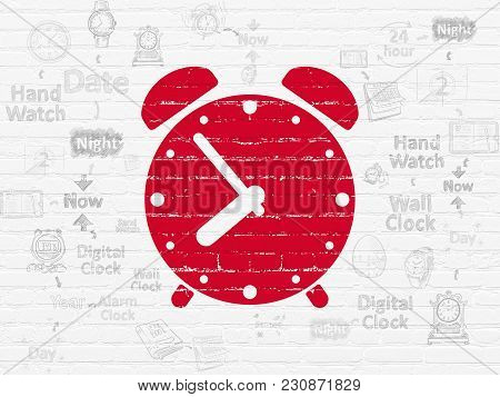 Timeline Concept: Painted Red Alarm Clock Icon On White Brick Wall Background With Scheme Of Hand Dr