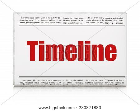 Time Concept: Newspaper Headline Timeline On White Background, 3d Rendering