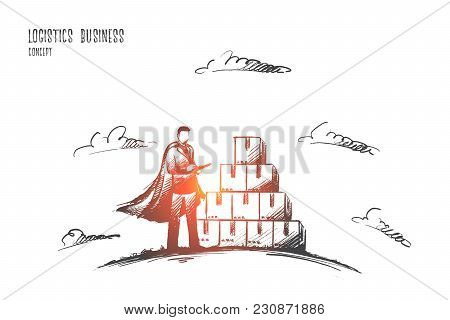Logistics Business Concept. Hand Drawn Worker In Warehouse Checking Boxes With Logistics. Super Hero