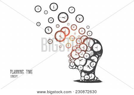 Planning Time Concept. Hand Drawn Human Head With A Lot Of Clocks. Time Management Idea Isolated Vec
