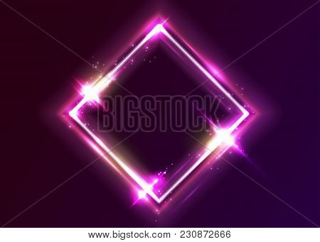 Vector Neon Rectangle Frame. Shining Square Shape With Vibrant Ultraviolet Pink And Purple Colors. L