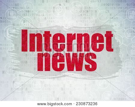 News Concept: Painted Red Text Internet News On Digital Data Paper Background With  Scheme Of Hand D
