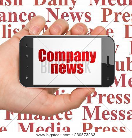 News Concept: Hand Holding Smartphone With  Red Text Company News On Display,  Tag Cloud Background,