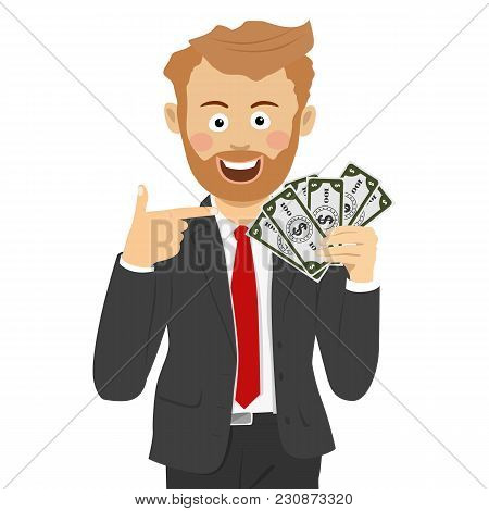Happy Business Man Pointing To A Fan Of Dollar Bills On White