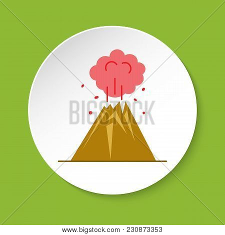Volcano Eruption Icon In Flat Style. Colorful Mountain Symbol On Round Button