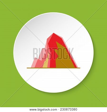 Icy Mountain With Ledges Icon In Flat Style. Terraced Rock Symbol On Round Button
