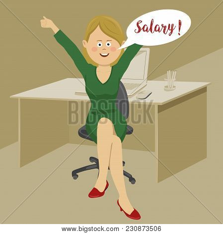 Young Happy Female Office Worker Keeps His Arms Raised Received A Monthly Salary