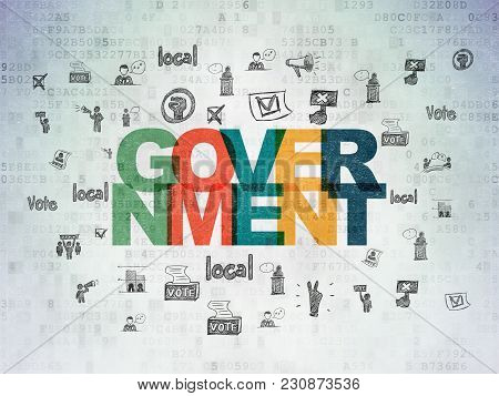 Politics Concept: Painted Multicolor Text Government On Digital Data Paper Background With  Hand Dra