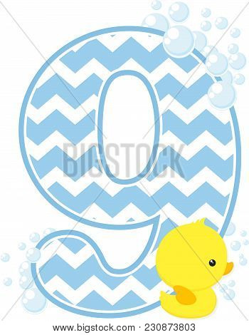 Number 9 With Bubbles And Little Baby Rubber Duck Isolated On White Background. Can Be Used For Baby