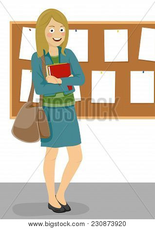 Young Happy Female Student With Handbag Standing Next To Bulletin Board