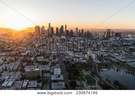 Los Angeles, California, USA - February 20, 2018:  Aerial morning view east on 6th street in the Westlake neighborhood towards downtown LA.