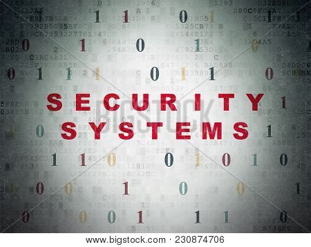 Safety Concept: Painted Red Text Security Systems On Digital Data Paper Background With Binary Code