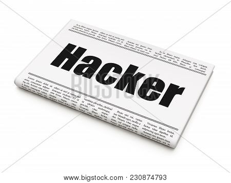 Security Concept: Newspaper Headline Hacker On White Background, 3d Rendering