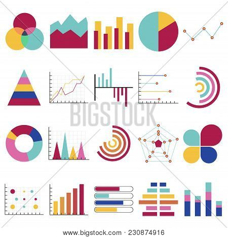 Business Data Graphs. Financial And Marketing Charts. Market Elements Dot Bar Pie Charts Diagrams An