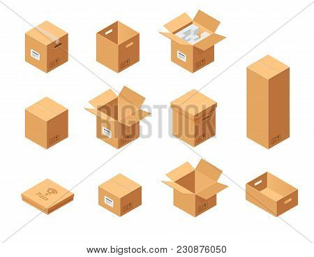 Carton Packaging Boxes Set. Isometric View. Different Size And Format. Closed And Open Packages On W