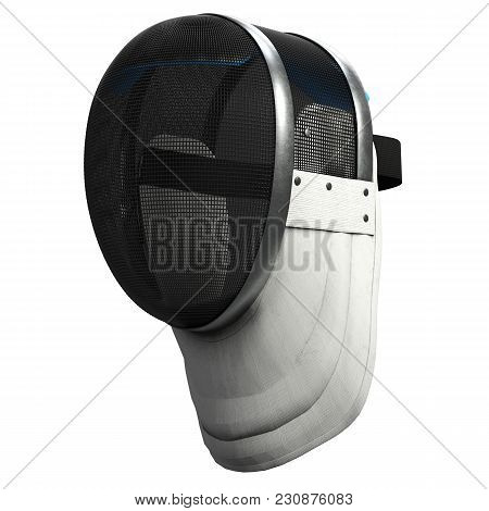 Classic Fencing Helmet. Perspective View. Fencing Sport Equipment. 3d Render Illustration Isolated O
