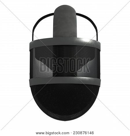 Classic Fencing Helmet. Top View. Fencing Sport Equipment. 3d Render Illustration Isolated On A Whit