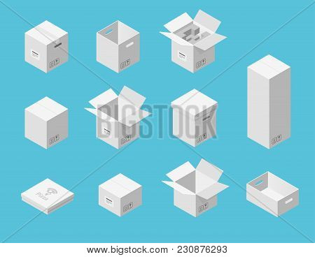 White Carton Packaging Boxes Set. Isometric View. Different Size And Format. Closed And Open Package