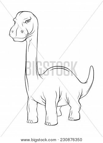 Apatosaurus Dinosaur, Long Neck Creature Monster In An Ancient Nature. Vector Line Work Cartoon Illu