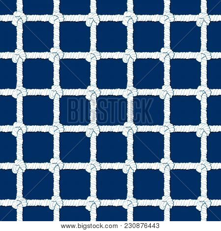 White Rope With Knots Seamless Pattern On Navy Blue Background. Marine Backdrop. Endless Striped Ill