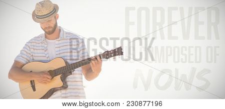 Forever is composed of nows against musician playing guitar
