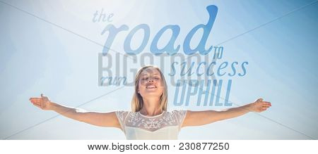 The road to success run uphill against happy woman smiling