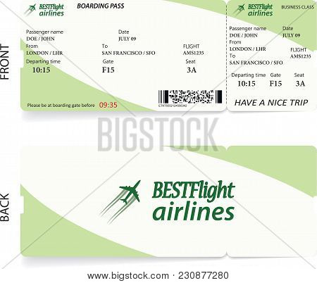 Green Vector Airline Passenger And Baggage Boarding Pass Ticket With Barcode. Concept Of Travel Or J